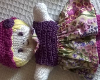 doll dress hand made blanket purple flowers