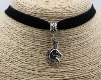 horse unicorn chocker necklace animal forest animals vintage