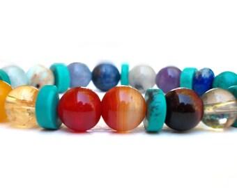 Turquoise Seven Chakra bracelet,Healing Chakra bracelet,Turquoise bracelet, 7 Chakra bracelet, Mala bracelet, Powerful Chakra bracelet, Yoga