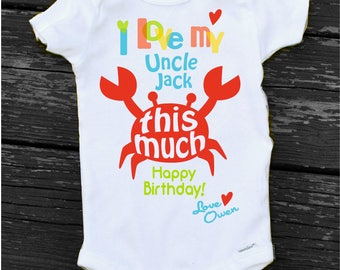 Happy birthday uncle etsy happy birthday uncle onesie happy birthday aunt onesie personalized baby boy crab bodysuit gift from nephew negle Images