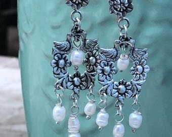 Sterling and fresh water pearl Frida Kahlo inspired earrings