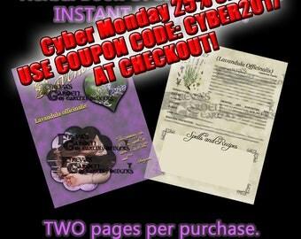 Lavender Herbal Book Of Shadows, Herbal Witchcraft Information, Herbal Correspondences, Herbal Spells, Digital Download Herbal BOS pages