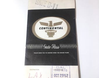 Vintage Continental Airlines Gate Pass Holder