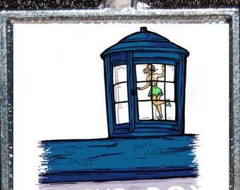 Doctor Who Tardis Mashup Disney Tinkerbell Peter Pan Silver Pendant Necklace Jewelry Disneyland