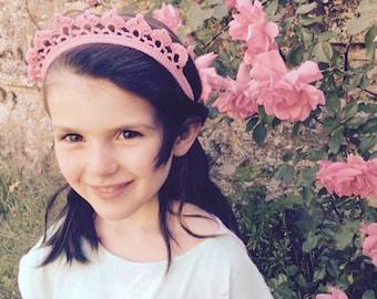Pink tiara shaped crochet headband