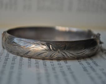 Vintage Sterling Bangle - 1940s Sterling Cuff Bangle, Signed Lady Fayre