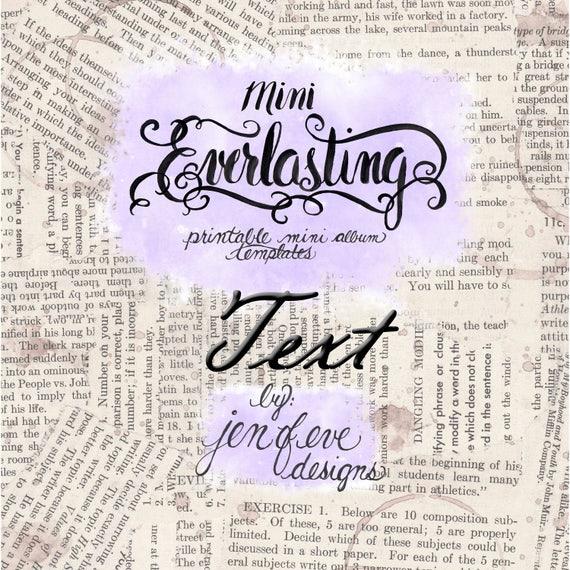 Mini Everlasting Printable Mini album Template in Text and PLAIN