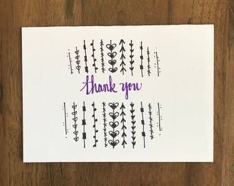 Thank you card - Thanks - Thank you - 5x7 with envelope