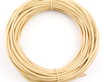 Beige Round Leather Cord 1 mm 10 meters (11 yards)
