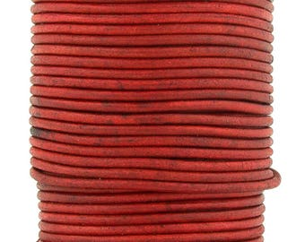 Xsotica® Red Natural Dye Round Leather Cord 2mm 10 meters (11 yards)