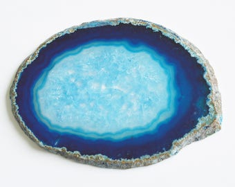 1 Large Blue Dyed Agate Gemstone Crystal Quartz Natural Geode Mineral Rock Stone Slab Slice