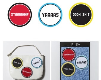 Word Phrases Embroidered Sticker Patch Set Pop Culture Collection