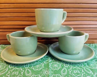 Green Pottery Cups and Saucers 3 sets, photo, play props, replacement dishes