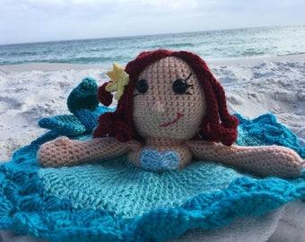 Mermaid Ariel Lovey Security Blanket (Crocheted)