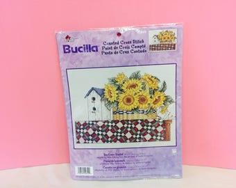 Counted Cross Stitch, Bucilla Kit, Sunflower Basket, Plaid Kit, Cross Stitch Supplies, Kit #42849, Flower Decor, DIY Sunflower Art, Cute Kit