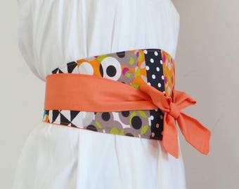 Belt Obi graphic cotton orange and black/white polka dots, creating unique and recycled