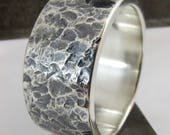 Mens Wedding Ring Wide Sterling Silver Hammered Textured Band 10mm Wide