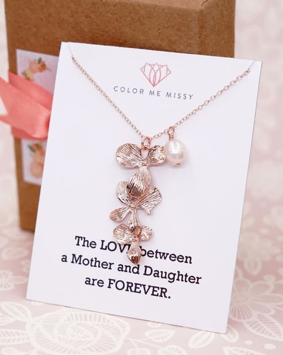 Rose Gold Triple Orchid Flower Necklace - rose gold FILLED chain, garden Wedding, bridesmaid bridal necklace, gifts for her best friend N245