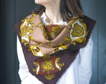 Vintage Royal print wool Scarf. Hand Printed Wool Scarf. Classic Brown Beige Shawl. Retro Scarf 60s Square. Warm Women Scarf Gift Fashion