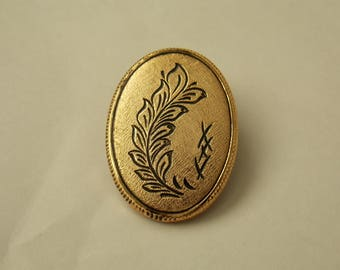 Small Vintage Scarf Clip. Oval Western Germany Scarf Clip.