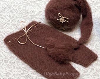 Newborn knit outfit brown hat and pants set, newborn boy photo props, hat and pants Knit pants and hat baby boy photography
