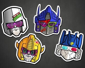 Transformers Stickers, Retro 80s 1980s Cartoon, Robot Sticker, Vinyl Slaps, Graffiti Art, Illustration