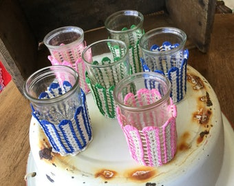 Jelly jar, wine glasses, crochet cozies, set of 6