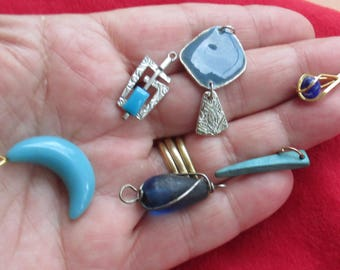 Lot Of Salvaged Blue Colored Assorted Pendants Dangles