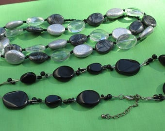 Lot Of Retro Black Grey Clear Beaded Necklaces