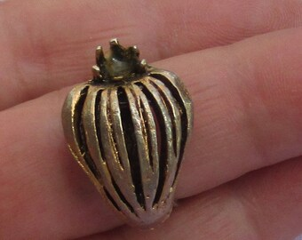 Vintage Strawberry Shaped Metal Costume Adjustable  Ring Missing Rhinestone Repair