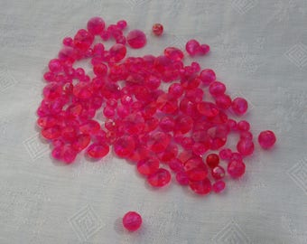 Lot Of Salvaged Fuchsia Colored Acrylic Beads