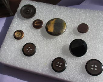 Lot Of Vintage Black Plastic & Metal Buttons