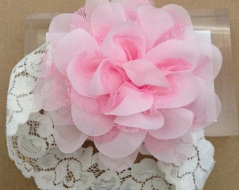 Baby Headband , Flower Headband, Lace Headband , Chiffon Flower.
