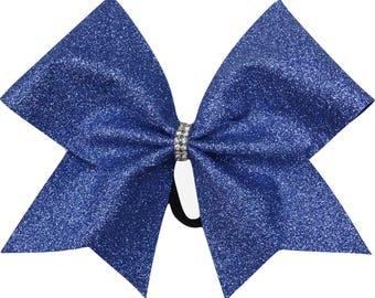 True Blue Glitter Cheer Bow