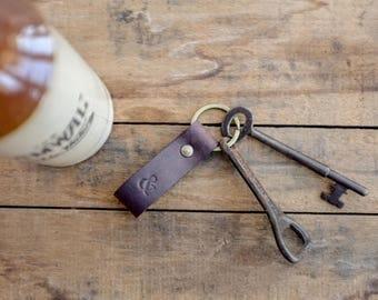 Leather Fob / Key Ring / Lanyard / Chestnut