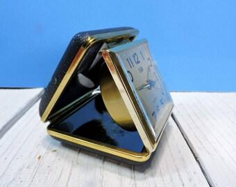 Elgin Folding Travel Alarm Clock: Vintage Cool Black Clam Shell Case Winding Bedside Clock Olympia Stadium Detroit Memorabilia Made In Japan