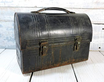 Metal Lunch Box Vintage Black Metal Aladdin Indrustries Lunch Box Dome Lunch Box with Spot forThermos Rusty Industrial Storage Nashville