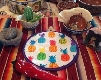 Microwaveable Tortilla Warmer Bright Pineapple Print