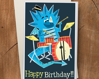 Dragon Birthday Card , Drummer Birthday Card, Drum Card, Dragon Art