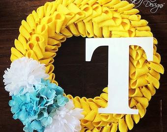 Yellow Burlap Petal Wreath