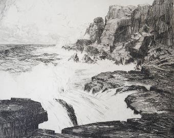 Vintage Etching by Charles Jac Young Signed Listed Artist Surf-Pounded Coast Waves Rocky Coast Marine Etching Wall Art Gallery Black White