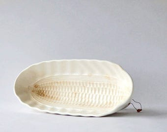 "Antique Ironstone Pudding Mold White Ear of Corn GMT & Bros. Germany 11"" x 5"" x 3"" Kitchen Decor"