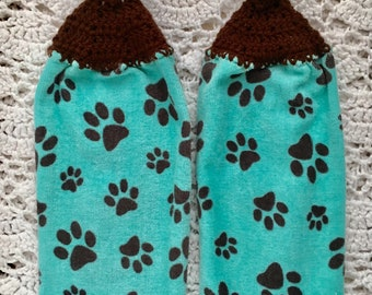 Dog Towels, Dog Kitchen Towels,  Paw Towels, Dog Mom, Crochet Top Towels, Pet Swag, Towel set, Dog Kitchen towels, Furbabies