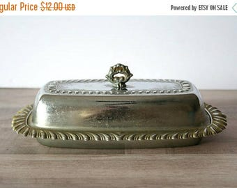 SALE Silver Butter Dish, Vintage Silver Butter Dish, Glass Insert Butter Dish, Vintage Kitchen
