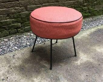 Iron and Upholstered 1950s Atomic Era Foot Stool