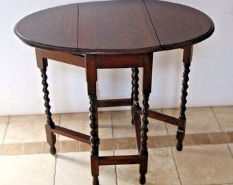 Antique English Oak Barley Twist Gate Leg drop leaf Table Oval space saver Safe Nationwide shipping available please call for best rates