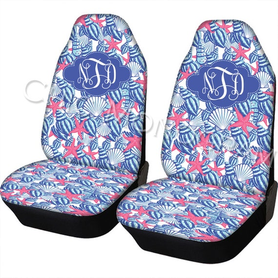 Seat Covers for Vehicle Lilly Inspired Car Seat Covers Set Of Two Front Seat Covers Monogram Personalized Car Accessories Seat Cover For Car