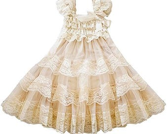 Ivory Lace Ruffle Dress Girl Dress Children Dress