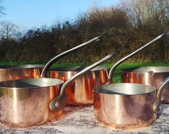 Copper Pans Les Cuivres de Faucogney Set of Five Vintage French Copper Professional Graduated Pans Cast Iron Handles 12-20cm Larger Set 6132