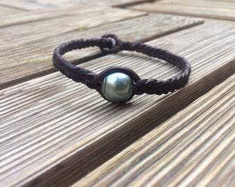 Tahitian pearl bracelet, tahitian pearl and leather bracelet for man